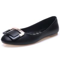 玫蒂莎 (MDIS∧)时尚休闲单鞋休闲金属装饰方扣百搭女鞋 1120F 黑色 36