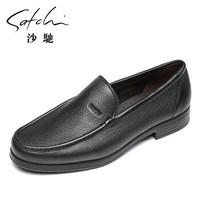 沙驰男鞋   男士鹿皮舒适套脚商务休闲鞋休闲皮鞋   87742009Z  黑色 41