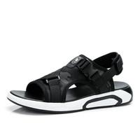 骆驼牌男鞋 日常休闲沙滩鞋男士轻便透气露趾凉鞋男潮鞋 W822259172 迷彩黑/黑 42/260码