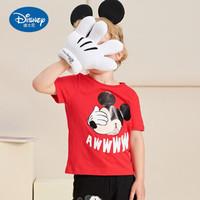 迪士尼 男童纯棉卡通短袖 红色 100 +凑单品