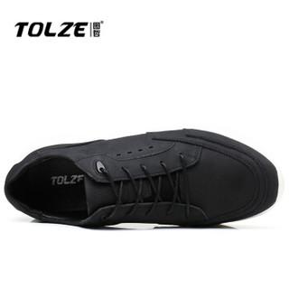 图哲(TOLZE)韩版休闲鞋户外运动男鞋时尚舒适耐磨板鞋子 1802 黑色 40码