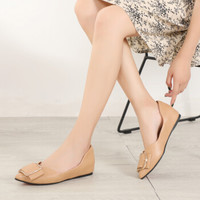 玫蒂莎 (MDIS∧) 时尚浅口尖头方扣百搭气质平底舒适单鞋女 2985 驼色 35
