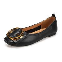 玫蒂莎 (MDIS∧) 韩版时尚气质百搭方头平底浅口金属圆扣单鞋女 2990 黑色 38