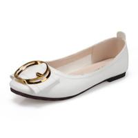 玫蒂莎 (MDIS∧) 韩版时尚气质百搭方头平底浅口金属圆扣单鞋女 2990 白色 38
