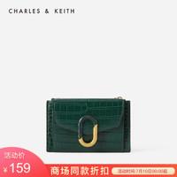 CHARLES&KEITH2020春夏新品CK6-50680845女士拼接扣饰短款钱包 Green绿色 XXS