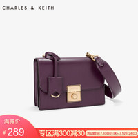CHARLES&KEITH女包金属扣吊牌饰翻盖小方包斜跨包女士CK2-80780728 紫色 M