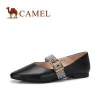 骆驼(CAMEL) 女士 优雅淑女尖头一字扣舒适单鞋 A83025651 黑色 39
