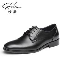 沙驰男鞋    系带男士商务正装皮鞋皮鞋男      61841005Z 黑色 40