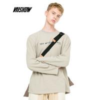 威秀 viishow T恤男 男士圆领套头上衣潮牌长袖宽松打底衫TC1725183 卡其色 XL