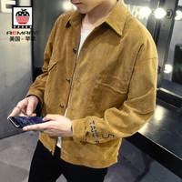 AEMAPE/美国苹果 夹克男士休闲外套青年韩版修身薄款外套商务休闲男装 卡其色 M