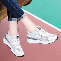 古奇天伦(GUCIHEAVEN)女士透气网面内增高运动低帮休闲鞋 8957 白色 42