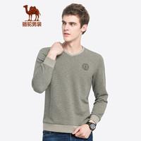 骆驼(CAMEL)男装 男青年长袖套头V领纯色花纱休闲舒适卫衣D8Q200372芦苇绿XL