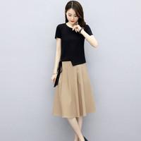 HUIZHI 绘志 女士夏季短袖T恤裙子套装 两件套