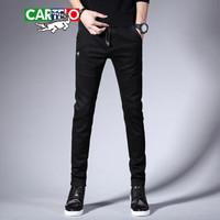 卡帝乐鳄鱼(CARTELO)牛仔裤 男士时尚潮流休闲纯色牛仔长裤A329-369黑色31