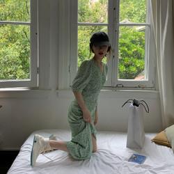 Stflandrewsn 女士绿色碎花雪纺连衣裙