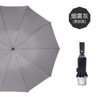 反向雨伞三折反向伞自动折叠黑胶遮阳伞十骨晴雨 烟灰色 23寸
