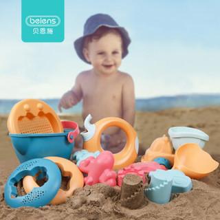 贝恩施儿童沙滩玩具套装 夏日戏水玩具玩沙子挖沙铲子工具 软胶沙滩套装 *5件