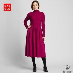 UNIQLO 优衣库 418630 女士3D精纺美利奴罗纹两翻领连衣裙