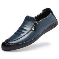Mexican 稻草人 商务休闲皮鞋男士子真二层牛正装豆豆懒人套脚轻质舒适 3163 黑色 43