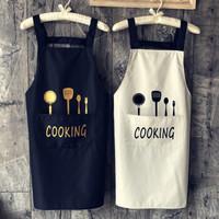 围裙 厨房家用防水防油围裙奶茶店咖啡厅工作服背带款 *2件