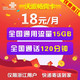限浙江:中国联通 沃派畅爽卡 18元/月 15G全国流量+120分通话 *2件 0.18元包邮(需用券,合0.09元/件)
