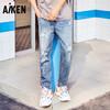 爱肯 Aiken 2019春季新款 男装破洞牛仔长裤AK119201203 牛仔浅蓝36