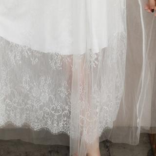 丝柏舍2019秋季新款女装韩版时尚圆领刺绣喇叭袖长款气质飘逸连衣裙 S81R0789LA7XL 白色 XL