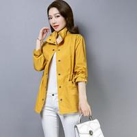 米兰茵 MILANYIN 女装 2019年春季新款收腰时尚口袋长袖中长款气质修身显瘦风衣 ML19227 黄色 3XL