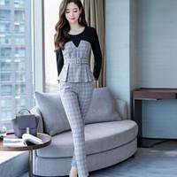 米兰茵 MILANYIN 女装 2019年春季韩版时尚小香风两件套百搭外套时尚套装 ML19096 灰格色 S