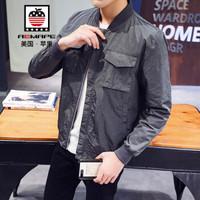 美国苹果 AEMAPE 夹克男2019春装新款立领飞行夹克男士外套韩版休闲工装棒球服外衣潮 灰色 XL