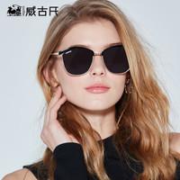 威古氏 VEGOOS 太阳镜女款墨镜 时尚大框彩膜偏光太阳镜 6130 黑框灰片