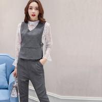 米兰茵 MILANYIN 女装 2019年春季时尚新款潮流三件套纯色V领套装 ML19093 灰色 XL