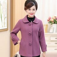 俞兆林 宽松大码中老年女装40-50岁妈妈装休闲时尚毛呢外套 YWMM191321 紫色 2XL