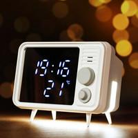 闹钟 带夜灯儿童充电学生卧室床头小座钟创意礼品生日礼物 电子静音数字钟 TV-01灰色