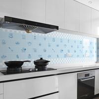 厨房自粘加厚防水防油贴纸耐高温灶台防水防油污墙贴橱柜贴纸 小确幸蓝 60*500CM(配刮板)