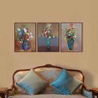 艺术家的礼物 -雷东花卉名作复刻版画-绿色花瓶 小号实木框 45x60cm