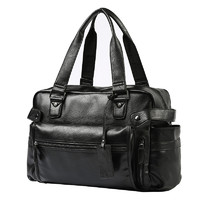 伊顿威格 韩版男手提包黑色休闲街头潮流单肩斜跨包出行大容量皮包