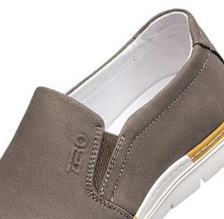 零度(ZERO)男士商务休闲头层牛皮柔软舒适懒人透气低帮套脚鞋子 卡其 42码