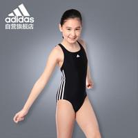 阿迪达斯 adidas 儿童泳衣女学生 基础训练 防晒舒适高弹抗氯 大女童温泉连体泳衣 BP5449 白LOGO 116