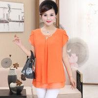 俞兆林 2019夏装新款中老年女装妈妈装上衣雪纺衫短袖T恤 YWMM192259 桔红色 XL