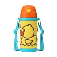 B.DUCK小黄鸭儿童保温杯不锈钢真空双柄背带吸管杯保温水杯水壶420ml(黄色)6074TM