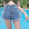 城加(CITYPLUS) 2019 新款个性毛边修身绑带牛仔裤高腰显瘦阔腿裤短裤学生CWDK192572蓝色L