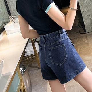 MAX WAY 女装2019春季牛仔裤短款大码胖mm宽松高腰A字裤热裤MWYH321 图片色 L