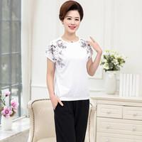 俞兆林 2019夏装新款中老年女装妈妈装两件套气质短袖T恤+七分裤套装 YWMM192277 白色 XXL