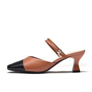 富贵鸟(FUGUINIAO)粗跟女凉鞋包头欧美潮一字扣带时尚休闲百搭K99G122C 黑/棕 38