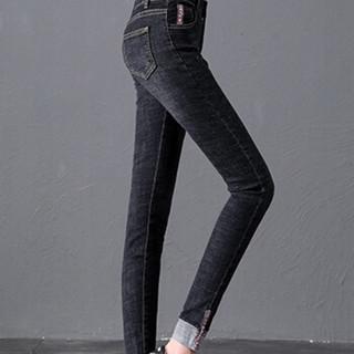 米兰茵(MILANYIN)2019春夏新款高腰牛仔裤女紧身显瘦chic弹力卷边小脚裤 ML19411 黑色 30