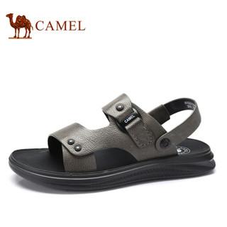 骆驼(CAMEL) 韩版百搭舒适防滑两穿男士沙滩凉鞋 A922211582 灰色 39
