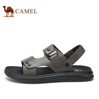 骆驼(CAMEL) 韩版百搭舒适防滑两穿男士沙滩凉鞋 A922211582 灰色 43