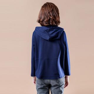 MAX WAY 女装 2019秋装新款宽松长袖上衣纯色套头打底衫 MWYH101 深蓝色 XXXL