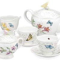 Lenox  蝴蝶花草 优雅骨茶具8件套